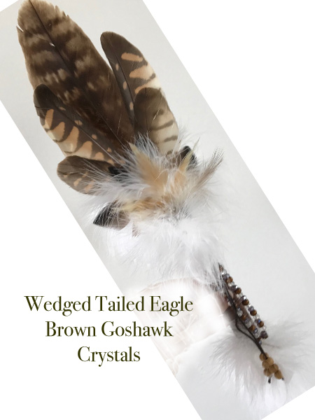 Unique Eagle & Hawk Feather Smudge Fan w/crystals - Click Image to Close